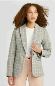 Women's Plaid Long Sleeve Blazer - A New Day - Gray - Size 10 NEW