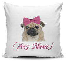 Personalised Any Name Pink Bow Pug Novelty Gift Cushion Cover