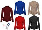 Womens Ladies Crop Frill Shift Big Plus Size Peplum Blazer Jacket Coat 16-24
