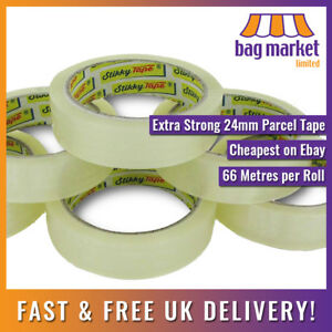"""6 Rolls x Clear 24mm x 66m Stikky® Parcel Packing Tape!   Sellotape/Cellotape/1"""""""