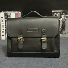 Black Men's Leather Handbag Messenger Shoulder Bags Work Briefcase Laptop Bag