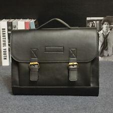 Men's Leather Handbag Messenger Shoulder Bags Work Briefcase Laptop Bag Black