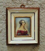 Italian Miniature Portrait Watercolor Painting Empress Josephine Boneparte Signe