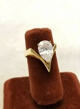 Solitaire Fashion Ring Goldtone Rhinestone Jewlery size 6.5