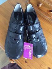 Damas/Niñas Suela Flex Flat Negro Zapatos Talla 3 UK. Cierre Táctil no Cordones Nuevo