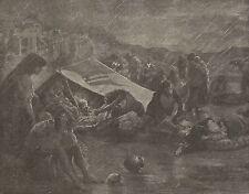 A1129 Terremoto in Calabria - Famiglie cercano un rifugio - Stampa Antica 1905