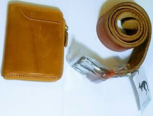 Australia-Made Genuine Leather Belt and Wallet Combo Cowhide Men's Wallets