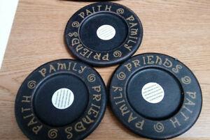 "3 Candle Plates-wood  ""FRIENDS@FAITH@FAMILY"" 5 1/2"" diameter"