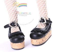 "Mary Jane Ruffle Heart Lolita Platform Shoes Black for 14"" Kish/17"" Goodreau BJD"