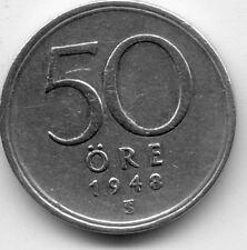 SUEDE SWEDEN SVERIGE 50 ORE 1948 ARGENT SILVER