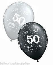 63.5x27.9cm Qualatex 50° Palloncini di compleanno Onice / Nera