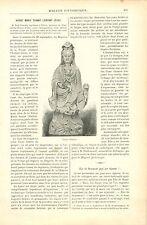 Statue Vierge Marie Enfant Jésus en Chine Asie GRAVURE ANTIQUE OLD PRINT 1890