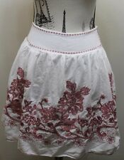 Studio M White Embroidered Floral Mini Skirt 100% Cotton Small  26 Inches Boho