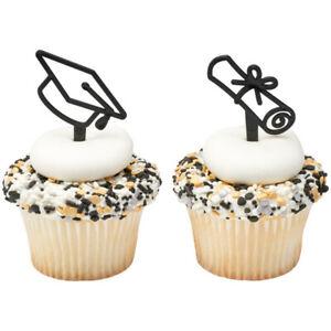 Graduation Icon Cupcake Picks Black Plastic DecoPac Bakery Picks Cake Topper 12