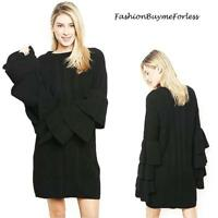 Black Wool Chunky Cable Knit Cozy Sweater Dress Hippie BOHO Bell Sleeve S M L XL