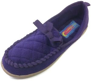 Moonbeams Purple Quilted Moccasin Slippers for Women Soft Fuzzy Micro Terry