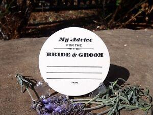 WEDDING ADVICE COASTERS WHITE  X 50 Round