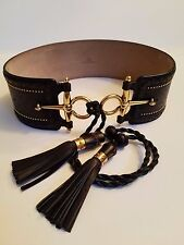 **Gucci** Dress Studded leather horsebit waist belt