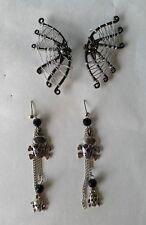 Claire's Halloween Earrings 2 pair set /Spider web & Skull Dangle earrings #5
