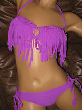 NWT Roxy/Raisins *S* Bali Fringe Bandeau Purple 2 Pc Sweet Pea Bikini Swimsuit
