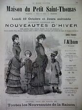PUBLICITE DE PRESSE MAISON DU PETIT SAINT-THOMAS VETEMENT COSTUME FRENCH AD 1883