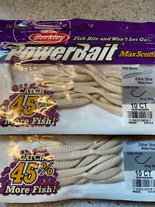 Berkley PowerBait MaxScent Flat Worm- 2 New Packs- White Pearl