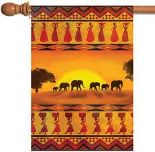 Toland Savanna Sunset 28 x 40 Colorful Orange Africa Elephant Safari House Flag