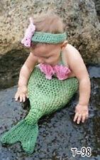 Newborn Baby Girl Crochet Mermaid Headband+Bra+Skirt Set Photography Prop Outfit