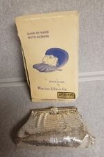 Vintage Whiting & Davis Silver Mesh Evening Clutch Handbag Rhinestone Clasp Box