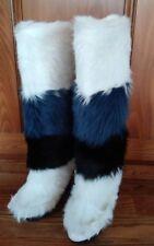NWOB Frye White Blue Black Fur Wedge Boots Womens 6 M