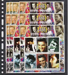 Elvis Presley Pop Rock Music 2002 Benin MNH 6 v perf set X 10 Wholesale lot