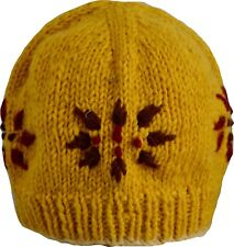 Wool Winter Cap Beanie Hat Unisex Ski Warm Handmade Fleece Knit Thermal Yellow