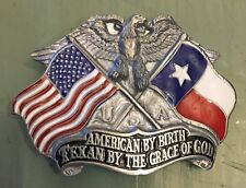 TEXAN BY THE GRACE OF GOD BELT BUCKLE AMERICAN BY BIRTH NEW