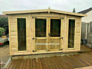 SUMMERHOUSE GARDEN  APEX T&G HEAVY DUTY SHED SUMMER HOUSE MAN CAVE GYM TREATED