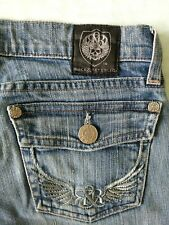 Rock & Republic Sz. 25 Vintage Jeans Distressed Embellished Flare Leg Stretch