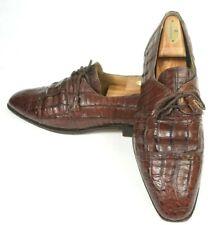David Eden Genuine Brown Crocodile Cap Toe Brogue Dress Shoes US Size 10.5