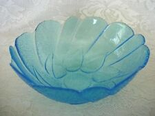 Collectible Vintage Turquoise Pressed Glass Leaf / Leaves Serving Bowl