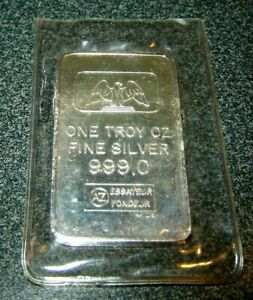 Rare Swiss Essayeur Foundeur 1 oz Silver Bar .999 fine