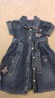 Girls 'Sugar Pink' Age 5_6 years, Pretty Short Sleeved Embroidered Denim Dress ❤