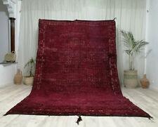Moroccan Vintage Zamour Handmade Wool Carpet 6'7x10'3'' Bohimean Purple Shag Rug