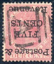 "Ceylon 4 cents,""Inverted""over printed 5 cents, Queen Victoria 1885  SG No. 178a"