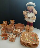 "Gingerbread 26"" Man and Pier 1 Imports Dinnerware Set 21 for 6 Italy FREE Ship"