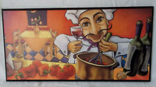 Will Rafuse Italian Cook Busy Cooking More Wine 9.5 x 19.5 Print On Black Plaque