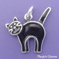 925 Sterling Silver BLACK CAT Kitty Halloween Enamel Charm Pendant - d91300