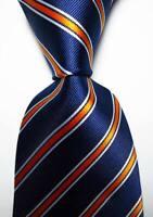 New Classic Striped Dark Blue Orange White JACQUARD WOVEN Silk Men's Tie Necktie