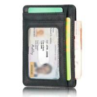 Mens RFID Blocking Leather Slim Wallet Money Clip Credit Holder Pocket Coin A4Y4