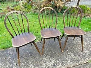 Set of 3 Vintage Retro Farmhouse Stick Back Dining Chairs - Ercol Style