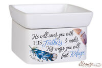 Refuge Under His Wings Feathers Psalm 91:4 Ceramic 2 in 1 Jar and Wax Warmer