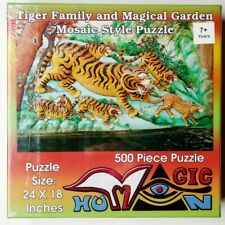 Tiger Puzzle Magic Human Tiger Family Magical Garden Mosaic Style Puzzle 24x18
