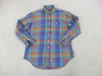 Ralph Lauren Polo Button Up Shirt Adult Large Blue Pony Long Sleeve Mens B11